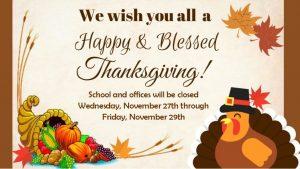 Thanksgiving Closed Nov 27 29